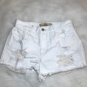 Hollister White Distressed Jean Shorts